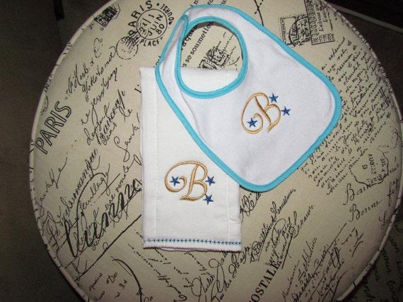 "ON SALE-Monogram ""B"" Bib and Burp Cloth Sample Set"
