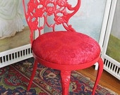 Shabby Vintage Chic RED Rose Boudoir Vanity Chair