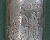 Vintage Sheffield England Pewter GOLF Golfer Liquor FLASK Bar Barware