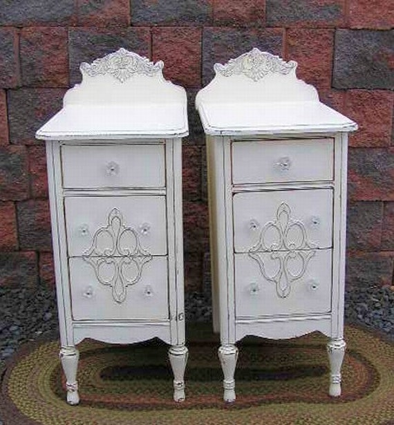 Shabby French White Chic Nightstands End Table Stand