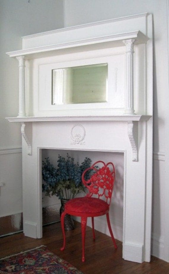Shabby White Chic Victorian Fireplace Mantel Headboard
