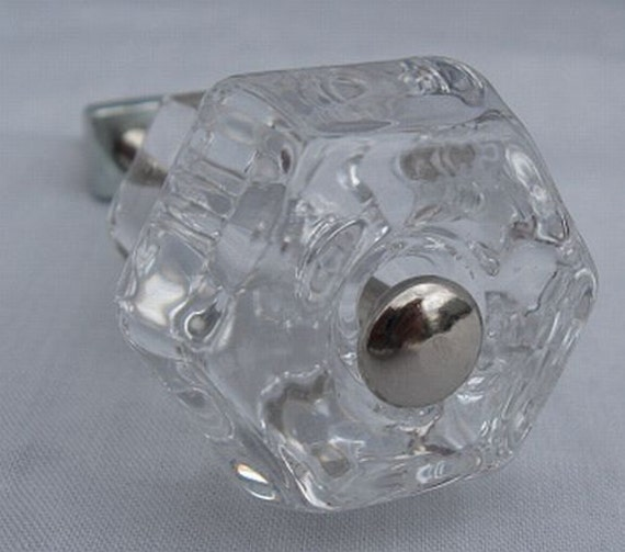 "1 1/4"" NEW Shabby Furniture Chic Cabinet Cupboard Furniture CLEAR GLASS Pull Knob Hardware For Sale"