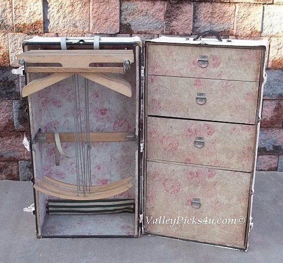 Omg Shabby Pink Rose Chic Steamer Wardrobe Vintage By Picks4u