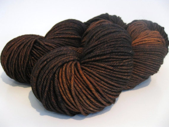 Yarn, hand dyed superwash merino, cashmere & nylon.  Worsted weight wool - Clockwork