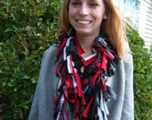 50% SALE - Rip Tied - OOAK scarf, handmade, repurposed t-shirts, vintage wool suiting and 3 yarns in red, black, gray, cream crazyadsteam