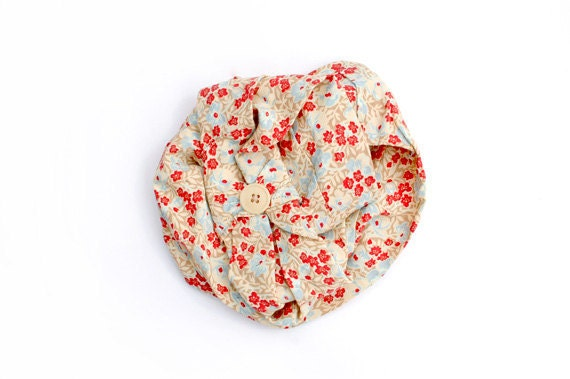 Circle Scarf - with Red, Blue, Cream Floral Pattern, and Button Detail. Eco, Infinity Scarf, One of a Kind