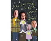 Caroling Family Photo New Year Card - Personalized & Printable Digital File