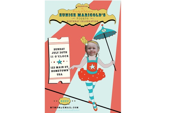Circus Carnival Tightrope Walker Invitation - Personalized and Printable