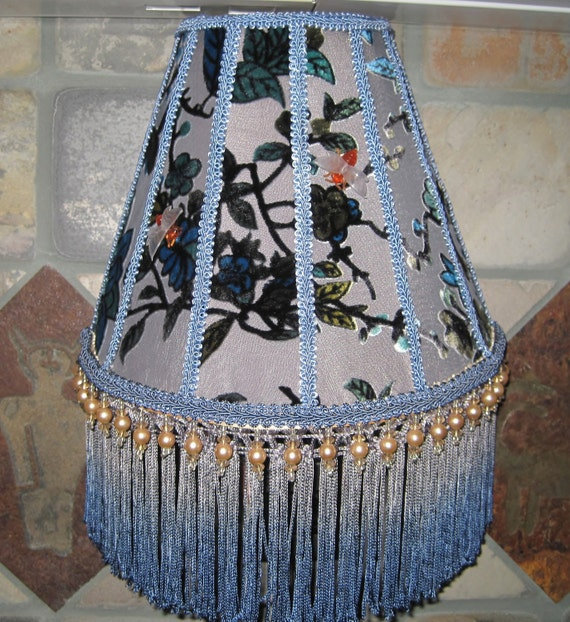 Blue Large Victorian Night Lite Lamp Shade w/Beaded Fringe Cut Velvet