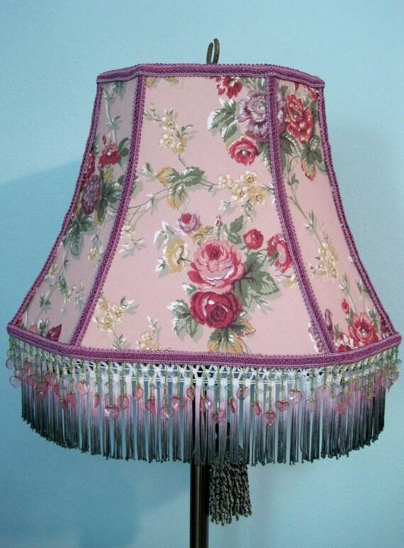 Ralph Lauren Pink Floral Fabric Hand-dyed Tassel Fringe Beads Lamp Shade English Garden