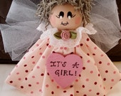 Its A Girl  Birth Announcement Angel