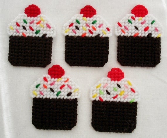 Set of Five Plastic Canvas Cupcake Magnets