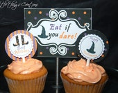 DIY Printable Witch Party Halloween Collection Set (Circles and Labels)-by Fara Party Design