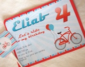 Printable Retro Bike Party Collection-Invitation by Fara Party Design