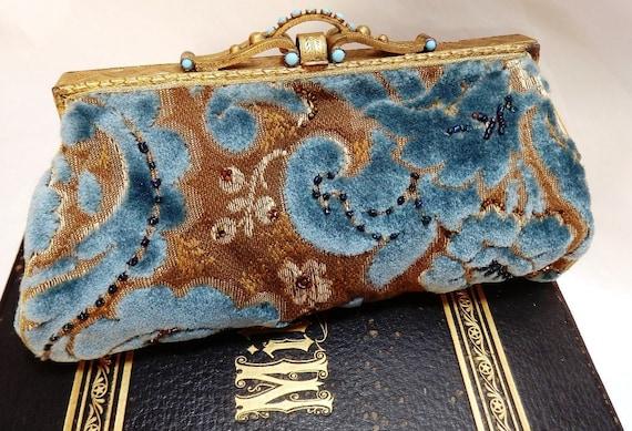 Blue Velvet Victorian Beaded Purse Antique Brass Steampunk Clutch Tagt 123 cc  etsy guild tenx tt cccoe sos Steam jgt  lot ocean