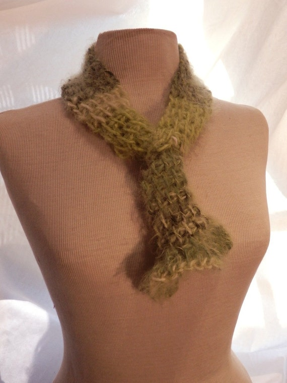 RESERVED LISTING Lime Green Soft Scarf in Afghan Crochet