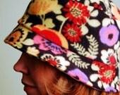 polar fleece winter hat- FLORAL NOIR- SHERLOCK- size M