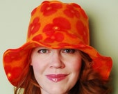 polar fleece winter hat- PETUNIA- Orange Poppy Sunburst
