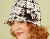 polar fleece winter hat- DREW- Black and White Houndstooth