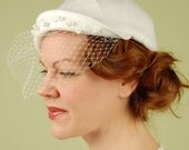Bridal hat- EMILY Gets Married- vintage style bridal- felt hat with birdcage veil