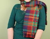 SCARF WITH FRINGE- Blue Plaid - polar fleece winter scarf