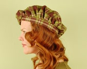 Scottish tam hat- LORNA- Olive Plaid - size M/L- cotton flannel