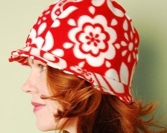 polar fleece winter hat- DREW- Red India- size M