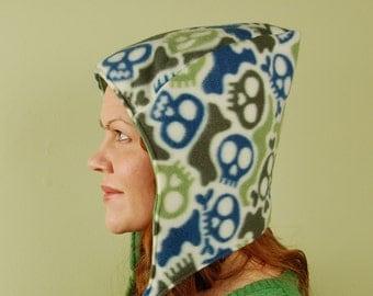 polar fleece winter reversible hat- PIXIE HOOD- Cobalt and Green Skulls and Acid Wash Green- size M/L