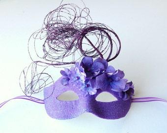 MASK- Purple Floral Flurry- masquerade mask, Mardi Gras,ballroom, fairy, Venetian, Halloween