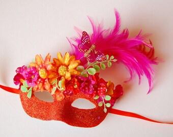 MASK- Mariposa Posy - masquerade mask, Mardi Gras, ballroom, fairy, Venetian, Halloween