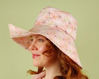 cotton sun hat- REBECCA- Pink Dandelions - size M cotton sun hat