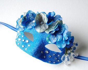 MASK- Bedazzled Blue Jeans - Halloween, fairy, Mardi Gras, Venetian, masquerade mask