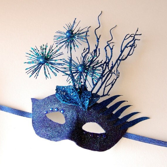 MASK- Blue Fields-masquerade mask, Mardi Gras,ballroom, fairy,Venetian, Halloween
