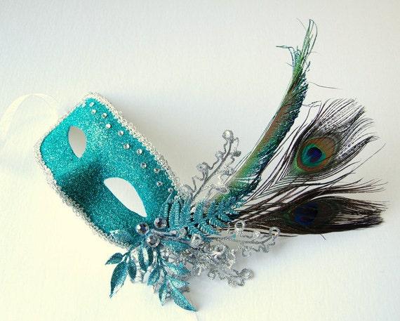 Peacock in Paradise - fairy, Mardi Gras, Venetian, masquerade mask