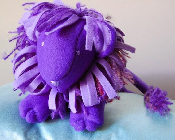 stuffed animal- PURPLE LION- plush stuffed animal toy