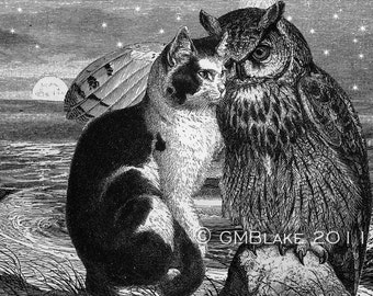 Owl and Pussycat Engraving Collage: signed art prints