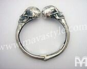 Custom Sterling Silver Skull Biker Bracelet - Ruby Eyes