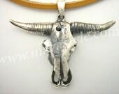 Sterling Silver Bull Skull Longhorn Cowboy Pendant Cow