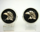 Sterling Silver Gold Bird Eagle Cufflinks Cuff Links