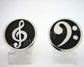 Sterling Silver Bass & Treble Clef Cufflinks
