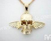 10K Gold Flying Skull Biker Pendant