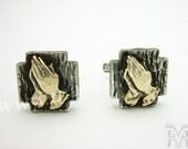 925 Sterling Silver Cross Cufflinks Gold Praying Hands