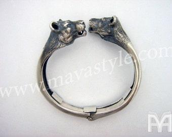 Sterling Silver Lioness Panther Jaguar Bracelet Bangle