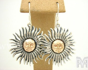 925 Sterling Silver & Yellow Gold Sun Earrings Jewelry