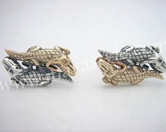 925 Silver 10K Gold Crocodile Cuff Links Cufflinks Croc