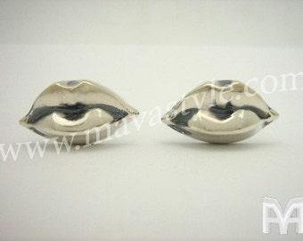 Sterling Silver Lips Cufflinks