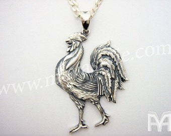 Sterling Silver Rooster Zodiac Cock Chicken Pendant Coq