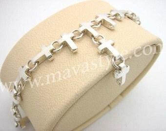 925 Sterling Silver Cross Bracelet de Croix en Argent