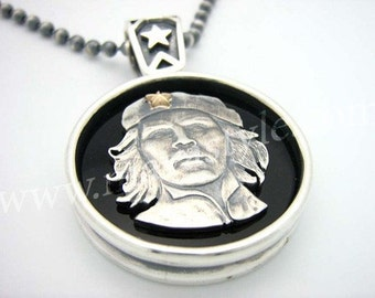 Detailed 925 Sterling Silver Che Guevara Pendant Chain