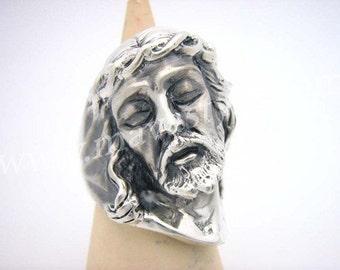 Heavy Sterling Silver Jesus Christ Ring Bague en Argent